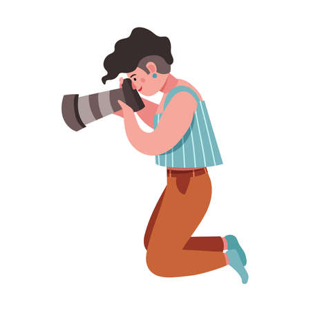 Hipster girl photographer holding photo camera and snapshoting. Flat vector cute female cartoon character, blogger, reporter or tourist taking picture. Creative profession and occupation Ilustração