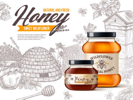 Natural organic wildflower honey in realistic 3d glass jars with vintage hand drawn etching flowers, hives, honey stick. Vector illustration design of beekeeping advertising poster. Package design