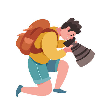 Hipster photographer holding photo camera. Flat vector cute male cartoon character, blogger, reporter or tourist taking picture. Creative profession and occupation