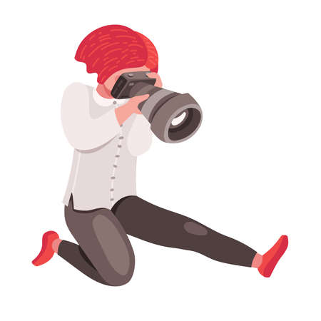 Hipster girl photographer or cameraman holding photo camera in hands and snapshoting. Flat color vector cute female cartoon character, blogger, reporter or tourist taking picture
