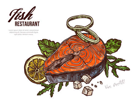 Salmon steak hand drawn vector web banner template. Red fish piece with veggies and lemon outline color illustration. Seafood, omega and vitamins rich food sketch. Fish with herbs drawing