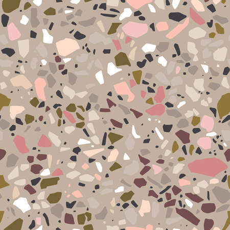 Terrazzo style seamless vector pattern. Polished stone trendy abstract background in grey, pink, olive light colors