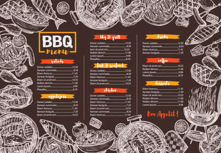 Vector template of bbq, grill, barbecue and meat menu illustration on chalkboard. Design template and layout for cafe and restaurant design