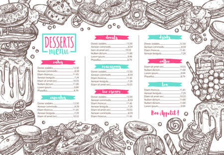 Vector template of dessert, candy, bakery and sweets menu illustration. Design template and layout for café and restaurant design with donuts, cupcakes, macaroon, chocolate Ilustracja