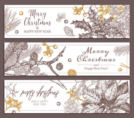 Christmas holiday floral horizontal banners. Sketch festive plants, branches of fir, larch, spruce, poinsettia, holly berry, mistletoe, cones. Hand drawn botanical design, template or layout