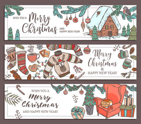 Collection of festive Merry Christmas and Happy New Year horizontal banners. Greeting sketch hand drawn illustration for wed. Doodle holiday posters or cards