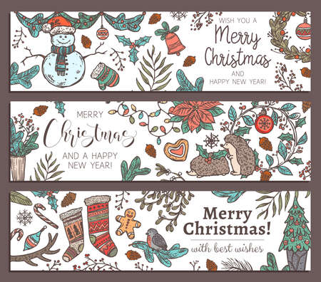 Collection of Merry Christmas and Happy New Year horizontal colorful banners. Greeting sketch hand drawn illustration for wed. Doodle festive posters or cards Banco de Imagens - 157092491