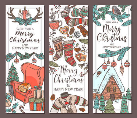 Collection of Merry Christmas and Happy New Year vertical colorful banners. Greeting sketch hand drawn illustration for wed. Doodle festive posters or cards Banco de Imagens - 157093135
