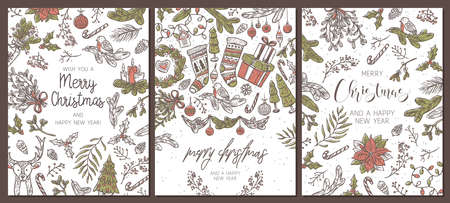Set of Christmas holiday greeting cards. Festive banners with vector linear doodle illustrations. Happy New Year backgrounds and posters with calligraphy Ilustração