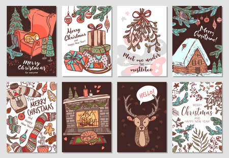 Collection of vector Christmas and New Year greeting cards. Holiday banners or posters with vector linear doodle illustrations. Hand drawn color sketch festive postcards
