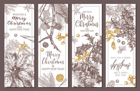 Collection of festive Merry Christmas and Happy New Year vertical floral banners. Sketch hand drawn plants, branches of fir, larch, spruce, poinsettia, holly berry, mistletoe. Botanical design for web Banco de Imagens - 157093298