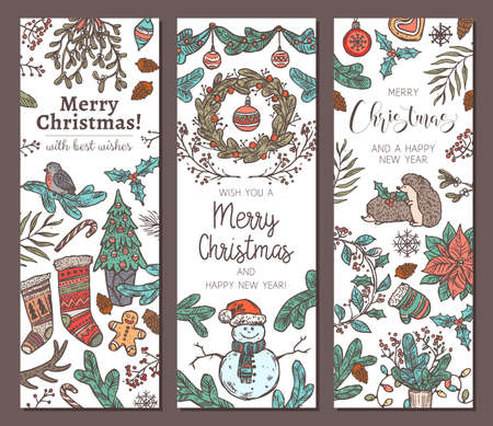 Collection of festive Merry Christmas and Happy New Year vertical banners. Greeting sketch hand drawn illustration for wed. Doodle holiday posters or cards Banco de Imagens - 157092656