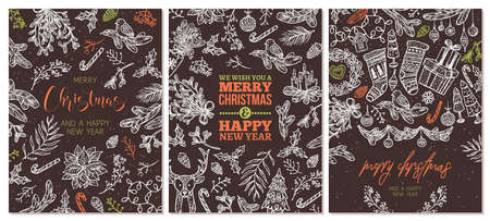 Set of Christmas holiday greeting cards. Festive banners with vector linear doodle illustrations on chalkboard or blackboard. Happy New Year backgrounds Ilustração