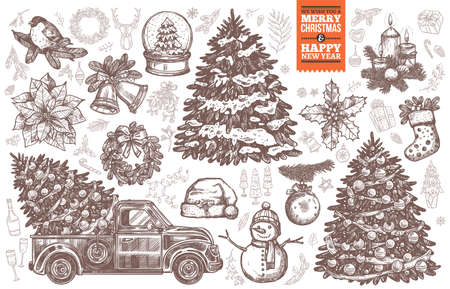 Big vector bundle for Merry Christmas and New Year design cards, posters and templates. Sketch hand drawn christmas tree, retro pickup truck, wreath, festive décor and symbols. Engraved etching illustrations and doodle icons