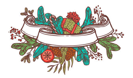 Christmas ribbon banner with festive decorations. Vector doodle illustration