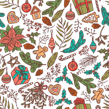 Christmas seamless vector pattern with festive symbols and icons. Linear doodle sketch illustration and backgorund
