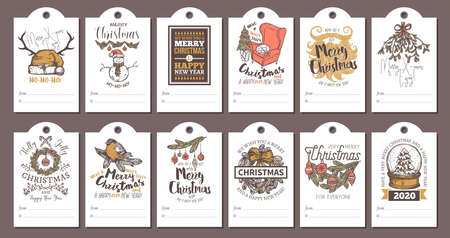 Big collection or bundle of christmas cards, posters, covers, labels and emblems. Drawing festive holiday party invitations and greeting postcards with vector santa hat, bullfinch, mistletoe, decorations and lettering