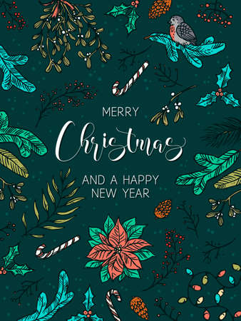Merry Christmas and Happy New Year festive vertical holiday background. Greeting card with linear doodle symbols and elemens gifts, tree decorations, evergreen plants, mistletoe, poinsettia with calligraphy Ilustração