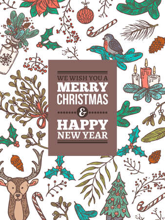 Christmas vector holiday greeting card. Festive banner or poster with vector linear doodle illustrations. Happy New Year hand drawn sketch vertical backgrounds Banco de Imagens - 157444927