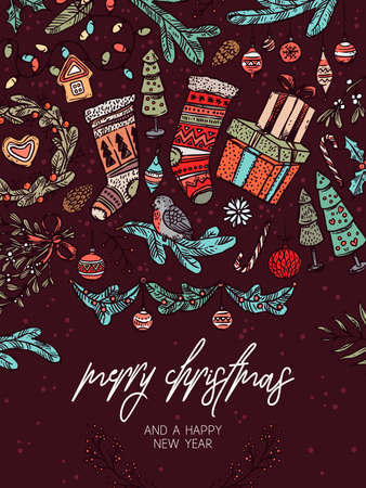 Christmas vector festive greeting card. Holiday banner or poster with vector linear doodle illustrations of decorations and evergreen plants, gifts, socks, tree, wreath. New Year hand drawn sketch Ilustração