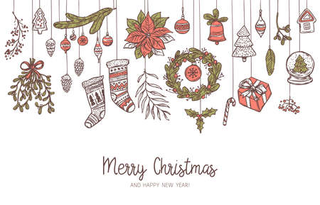 Christmas vector horizontal drawing background with different suspended festive icons and elements. Mistletoe, stockings, fir and spruce branches, wreath, bell. Doodle hand drawn illustration