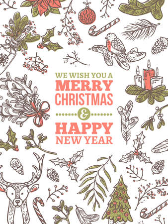 Christmas vector holiday greeting card. Festive banner or poster with vector linear doodle illustrations. Happy New Year hand drawn sketch vertical backgrounds
