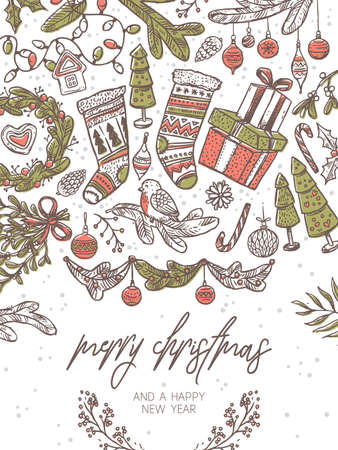 Christmas vector festive greeting card. Holiday banner or poster with vector linear doodle illustrations of decorations and evergreen plants, gifts, socks, tree, wreath. New Year hand drawn sketch Banco de Imagens - 157445088
