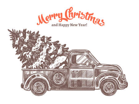 Delivery of christmas tree on retro pickup truck. Festive card with vintage car in etching hand drawn style. Happy New Year hand drawn engraved vector illustration Ilustração