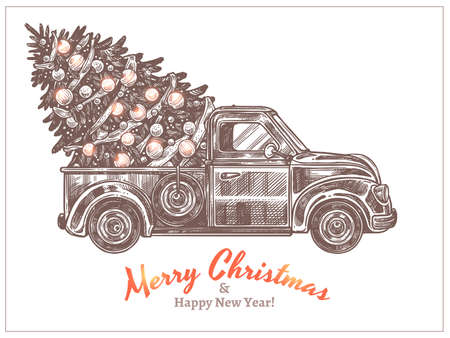 Delivery of christmas festive decorated fir-tree on retro pickup truck. Holiday card with vintage car in etching sketch style. Happy New Year hand drawn engraved vector illustration Banco de Imagens - 157445019