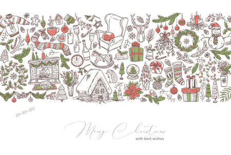 Merry Christmas and Happy New Year background with linear doodle symbols and elemens and icons. Festive holiday vector greeting card or banner with border Ilustração