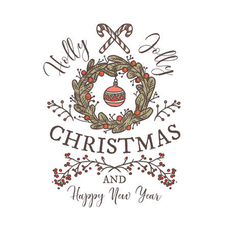 Holly Jolly Merry Christmas and Happy New Year linear logo, tag, emblem or label with typography and calligraphy for greeting card. Festive wreath and decoration Ilustração