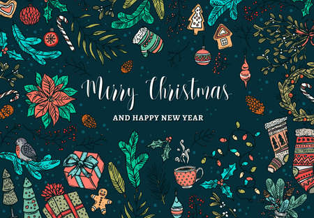 Merry Christmas and Happy New Year greeting card with linear doodle symbols and elemens gifts, tree decorations, evergreen plants, socks. Festive holiday background