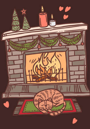 Merry Christmas greeting card with decorated fireplace with light of bonfire and sleeping cat on the carpet. Vector doodle drawing illustration, poster, banner or template for postcard Ilustração