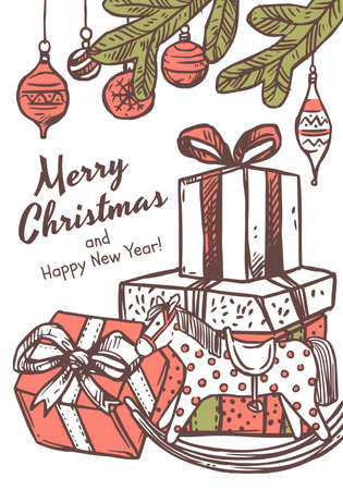Merry Christmas greeting card with congratulation and many boxes of gifts with toy horse and fir branches with balls. Vector doodle drawing illustration, poster, banner or template for postcard
