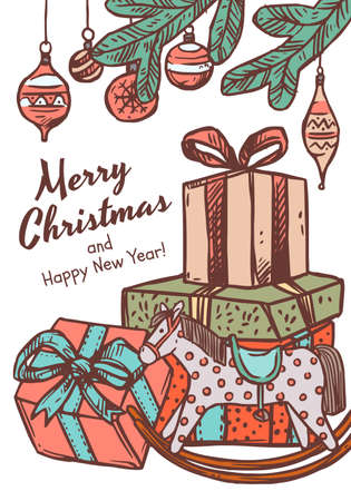 Merry Christmas greeting card with congratulation and many boxes of gifts with toy horse and fir branches with balls. Vector doodle drawing illustration, poster, banner or template for postcard Banco de Imagens - 157352094