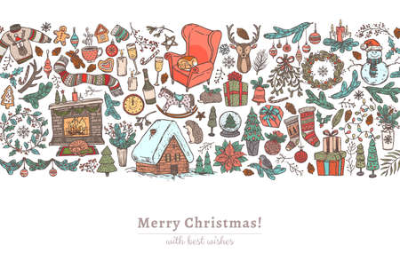 Merry Christmas and Happy New Year horizontal background with a lot of linear doodle symbols, festive attributes, elemens and icons. Holiday vector greeting card or banner with border Ilustração