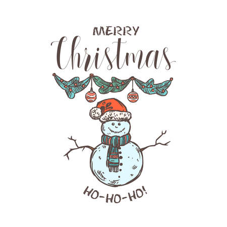Merry Chridtmas linear vector emblem with typography, text and calligraphy. Festive doodle label, tag or logo for greeting card or banner with garland and snowman