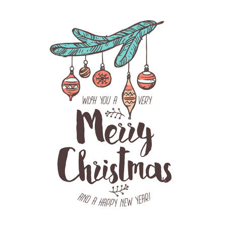 Merry Chridtmas and Happy New Year linear vector emblem with typography, text and calligraphy. Festive doodle label, tag or logo for greeting card or banner with spruce branch and balls