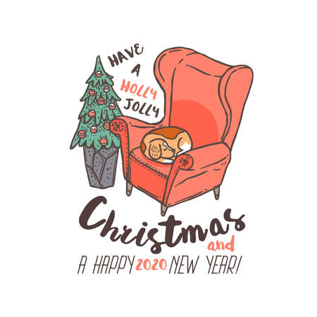 Merry Chridtmas and Happy New Year linear vector emblem with typography, text, calligraphy and cute beagle dog sleeping in chair. Festive doodle label, tag or logo for greeting card or banner