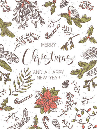 Merry Christmas and Happy New Year festive vertical holiday background. Greeting card with linear doodle symbols and elemens gifts, tree decorations, evergreen plants, mistletoe, poinsettia with calligraphy Stock Illustratie