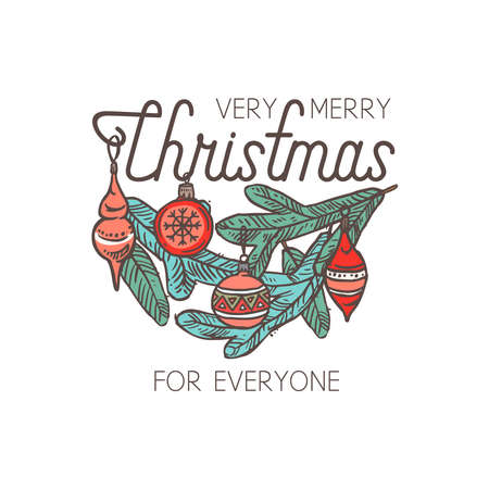 Merry Chridtmas linear vector emblem with typography, text and calligraphy. Festive doodle label, tag or logo for greeting card or banner with spruce branch and decorations Banco de Imagens - 157576256