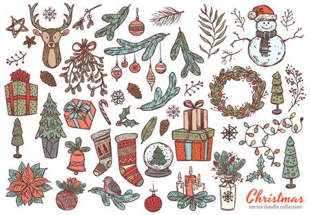 Merry Christmas and Happy New Year linear doodl set with vector sketch holiday elements, icons and symbol. Festive collection of illustrations