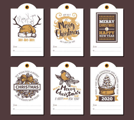 Merry Christmas and Happy New Year greeting cute tags or cards for gifts with festive icons, emblems, labels and congratulation. Sketch vector doodle illustrations, hand drawn design and templates