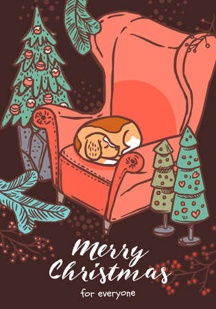 Merry Christmas greeting card with congratulation and cute beagle dog sleeping in red chair. Vector doodle drawing illustration, poster, banner or template for postcard