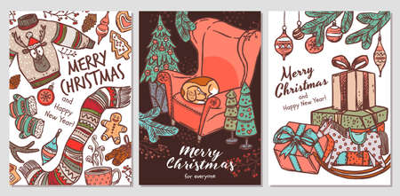 Three vector greeting Merry Christmas card. Hand drawn cute Happy New Year postcards or banners with festive elements, symbols and attributrs. Sketch drawing illustrations