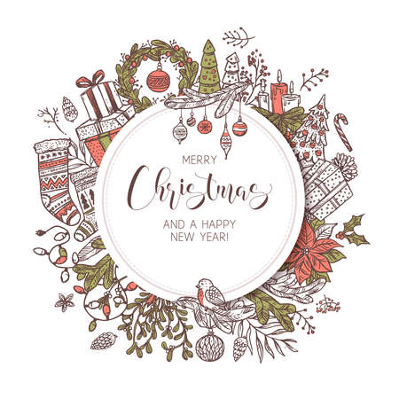 Round Merry Christmas and Happy New Year banner, label or emblem with cute drawing festive elements and decorations. Sketch holiday vector background and illustration Banco de Imagens - 157352176