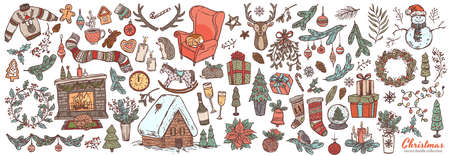 Vector Merry Christmas and Happy New Year linear doodle set with sketch festive elements, icons and symbol. Holiday colliction of illustrations for greeting card design Banco de Imagens - 157352073