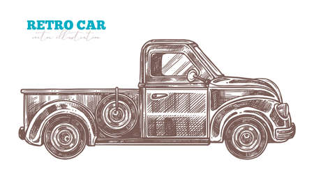 Vector engraved retro pickup truck. Sketch hand drawn vintage car. Etching illustration of isolated object on white background Banco de Imagens - 157576262