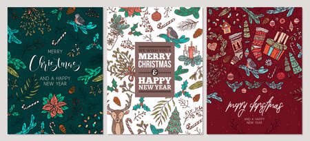 Set of Christmas holiday greeting cards. Festive banners with vector linear doodle illustrations. Happy New Year backgrounds Ilustração