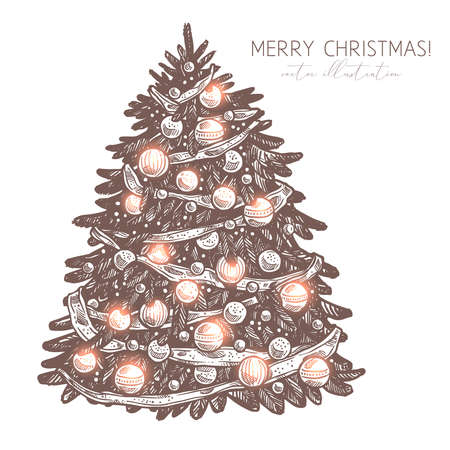 Vector sketch christmas tree with decorations and garland. Merry Cghristmas and Happy New Year engraved etching illustration. Hand drawn festive holiday symbol
